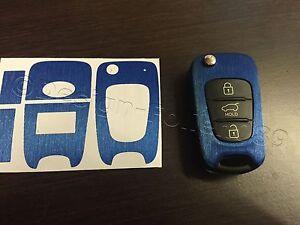 Blau Gebürstet Folie Schlüssel Hyundai z.B.: i10 i20 i30 ix35 ix20 Elantra