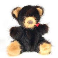 "VTG Real Mink Fur Brown Bear Plush 6"" RARE BEAR Plush Stuffed Animal Toy Genuine"