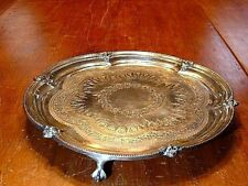 Ornate Antique Mappin & Webb Silverplated Claw & Ball Footed Tray