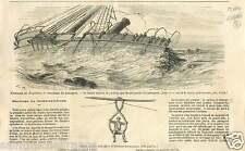 Naufrage du Borysthènes Mers-el-Kébir Cote d'Oran Algérie GRAVURE OLD PRINT 1866
