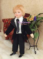 1:12 Dollhouse Miniature Dolls Little Pretty Boy Blond Hair Black Suit  PP004