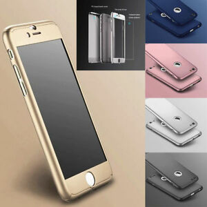 iPhone 7 6 6S Plus Hard Ultra thin Case Tempered Glass Cover For  Hybrid 360°