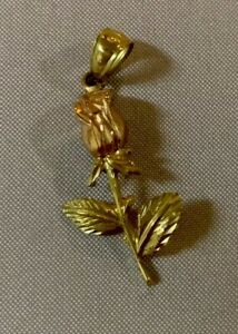 10K Tri-Color Gold Rose Pendant Charm