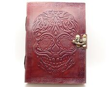 Day Of The Dead Sugar Skull Handmade Book Of Shadows Leather Journal Wicca Diary