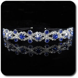 Bridal Diadem Tiara Headband Crystal Rhinestone Metal Wedding Blue/Clear / sil