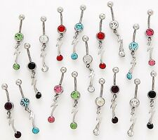 5 CZ Dangle Belly Button Rings 14g Wholesale Gemstone Jewelry Lightning Bolt 764