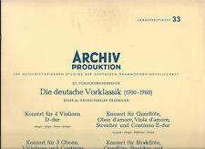 Telemann, Georg philipp: la Deutsche vorklassik LP DGG Archive production 1961