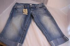 Jade Jeans Cropped Capris Size 7/8 Distressed Low-Rise Stretch NWT Light Blue