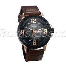 Men's Fashion Big Arabic Numerals Dial Date Display Leather Quartz Wrist Watch