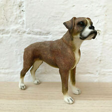 More details for standing brown & white boxer dog pet ornament statue figurine resin gift large