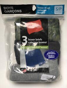 HANES Boys Boxer BRIEFS Underwear Black Grey Camo NEW NWT S Small