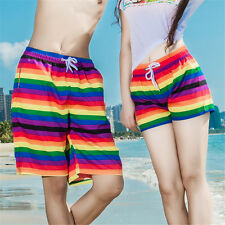 Summer Men Women Lovers Rainbow Stripes Beach Shorts Short Pants Board Surf