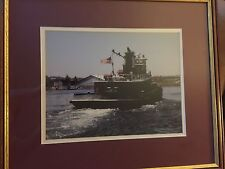 """Framed & Matted Tugboat Photo Signed By Steven Cryan 18""""x 21"""""""