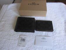 $175 COACH MEN'S COMPACT ID PVC SIGNATURE WALLET Black/Oxblood