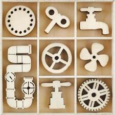 Kaisercraft Wooden Flourish Pack Chipboard Embellishments ~ Mechanisms