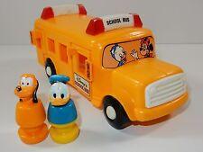 Illco Walt Disney School Bus w/ Donald & Pluto Figures RARE