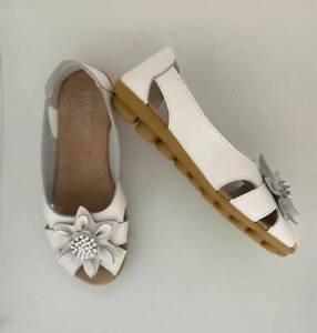 Shoe womens leather  slip on ballet flat sandal designer auyi nodule white