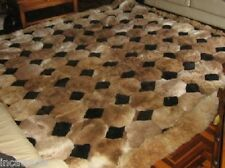 "Soft Fur Rug. 90""x90"" Brown. ""Octagon"" Design. Alpaca fur."