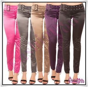 Sexy Women's Satin Trousers Ladies Casual Office Pants + Belt Size 8,10,12,14 UK