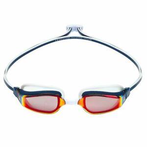 Aqua Sphere Fastlane Swimming Goggles, Mirrored Lens - Navy & White, Fitness & T