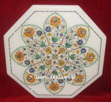 White Marble Inlay Work Coffee Table Tops, Stone Inlay Marble Coffee Table Top
