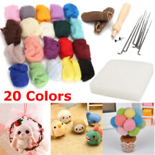 20 Colors Wool Felt + Needles Felt Tool Set Needle Felting Mat Starter Tool Kit