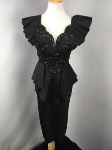 Vtg 90s Contempo Casuals Black Ruffle Sequin Sweetheart Peplum party dress Sz 7