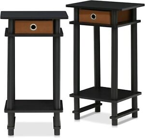 End Table Set Of 2 Rectangle Storage Drawer Espresso Color Durable Furniture New