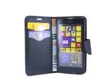 Book-Style Handyhülle Case Cover Schwarz für Nokia Lumia 630 / 635 + Schutzfolie