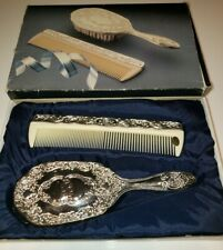 Vintage Hair Brush Mirror Comb Set Silver Plated Dresser Set Victorian Style