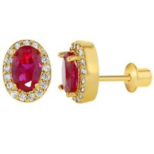 18k Gold Plated Pink Clear Crystal Oval Girls Screw Back Earrings