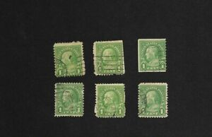 Lot of 6 Ben Franklin one cent stamps green one vertical perf coil end