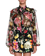 Dolce & Gabanna Bow Tie Floral Print Roses Silk Chiffon Blouse Top 42/8 New