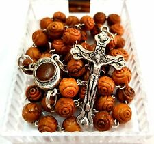 Carved Olive Wood Rosary Beads Necklace Jerusalem Soil & Catholic Cross Gift Box