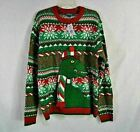 NWT 33 Degrees Green T Rex Dinosaur pompom scarf Men's Ugly Christmas Sweater