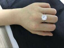 3.50 CT ROUND CUT F/VS1 HALO DIAMOND SOLITAIRE ENGAGEMENT RING 14K WHITE GOLD