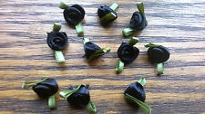 10 Small Satin Ribbon Black  rose buds  20mm wide