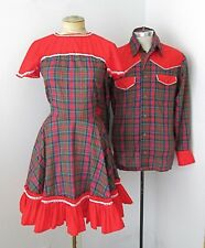 SET His Hers Red Plaid Square Dancing Circle Dress Pearl Snap Western Shirt S/M