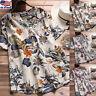 Women's Cotton Linen Floral V Neck Tops Casual Loose Blouse Short Sleeve T-shirt
