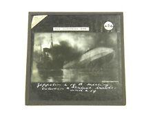 Antique Magic Lantern Glisse WW1 The Européen Guerre Zeppelin L19 & Britannique