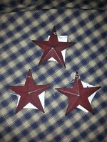 "Set of 12 Primitive Burgundy 3.5"" Barn Stars - Decorate, Craft, Ornaments, Metal"