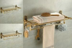 Nail Free Foldable Bathroom Towel Holder Rack Antique Brass Romantic Movable