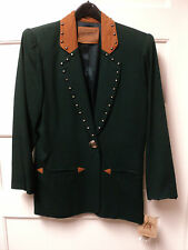 SADDLE RIDGE STUDDED JACKET, HUNTER GREEN with BROWN SUEDE ACCENTS, SIZE XS