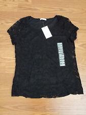 NWT Women's Isaac Mizrahi Black Lace Blouse Shirt Size M $48