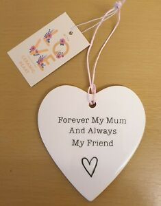 Mum Ceramic Hanging Heart, Great Mothers Day Gift New Free Postage