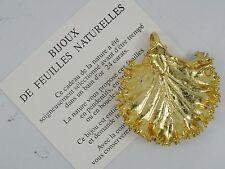 RARE BIJOUX de FEUILLES NATURELLES 24 K GOLD PLATE LEAF PENDANT w/ BOX & PAPER