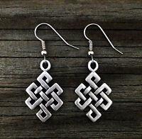 Diamond Celtic Knot Pewter Earrings | Irish | Scottish | Handcrafted Fine Pewter