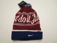 NIKE JUST DO IT POM BEANIE ADULT UNISEX Red White Blue CUFFED KNIT CAP NWT