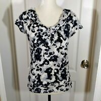 Ann Taylor LOFT Factory Black White Ruffle V Neck Short Sleeve Casual Top Sz XS