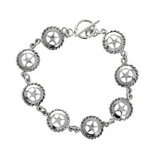 Sterling Silver Bracelet, Sheriff Star, Toggle Closure, 7.5 inches, 13 Charms